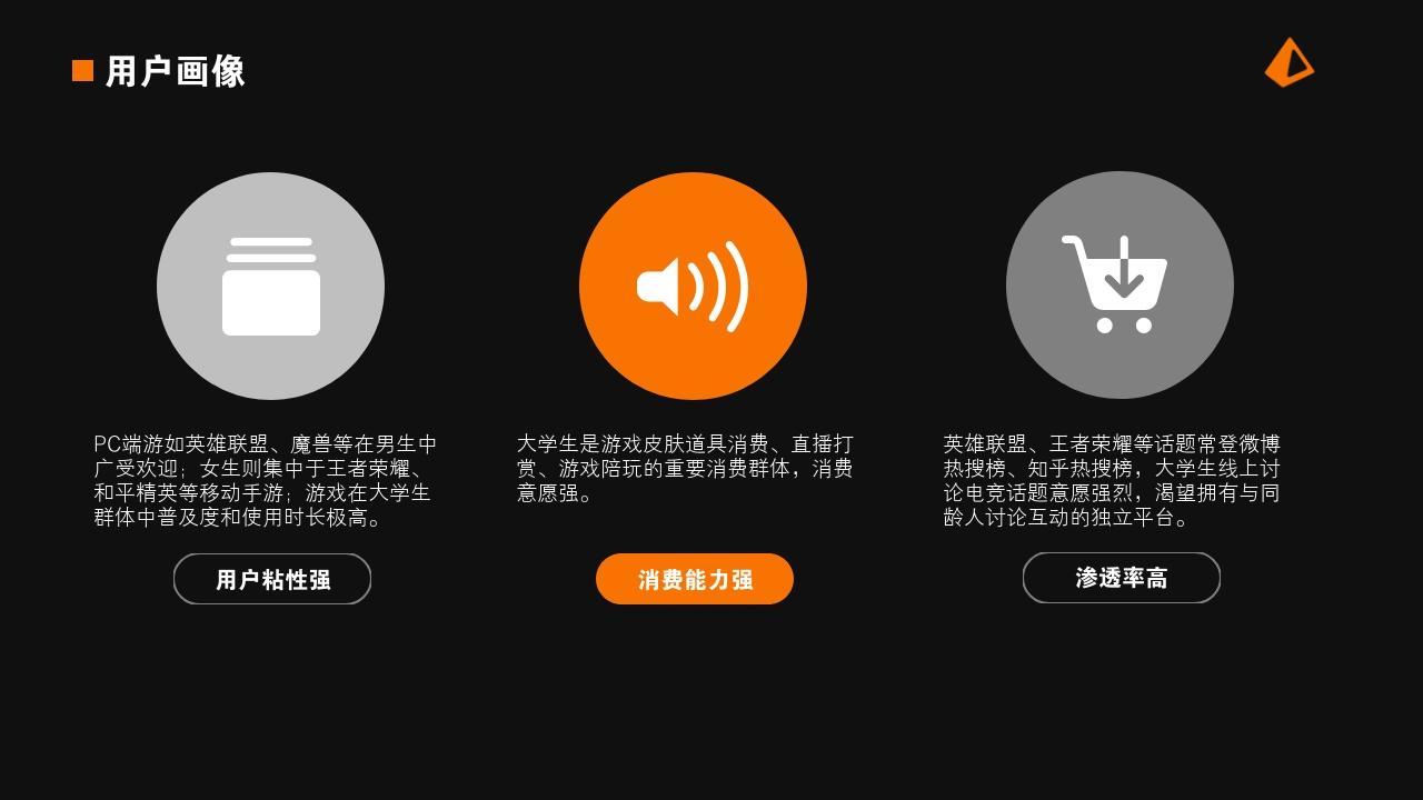 電競手游娛樂項目游戲社區行業商業計劃書PPT模板-用戶畫像