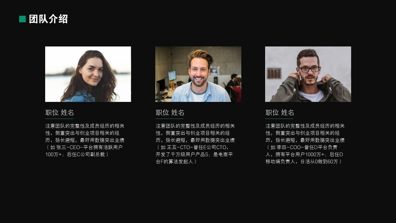 陌生人社交文娛行業創業融資商業計劃書PPT模板-團隊介紹