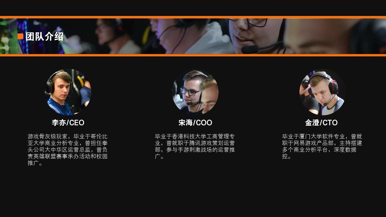 電競手游娛樂項目游戲社區行業商業計劃書PPT模板-團隊介紹