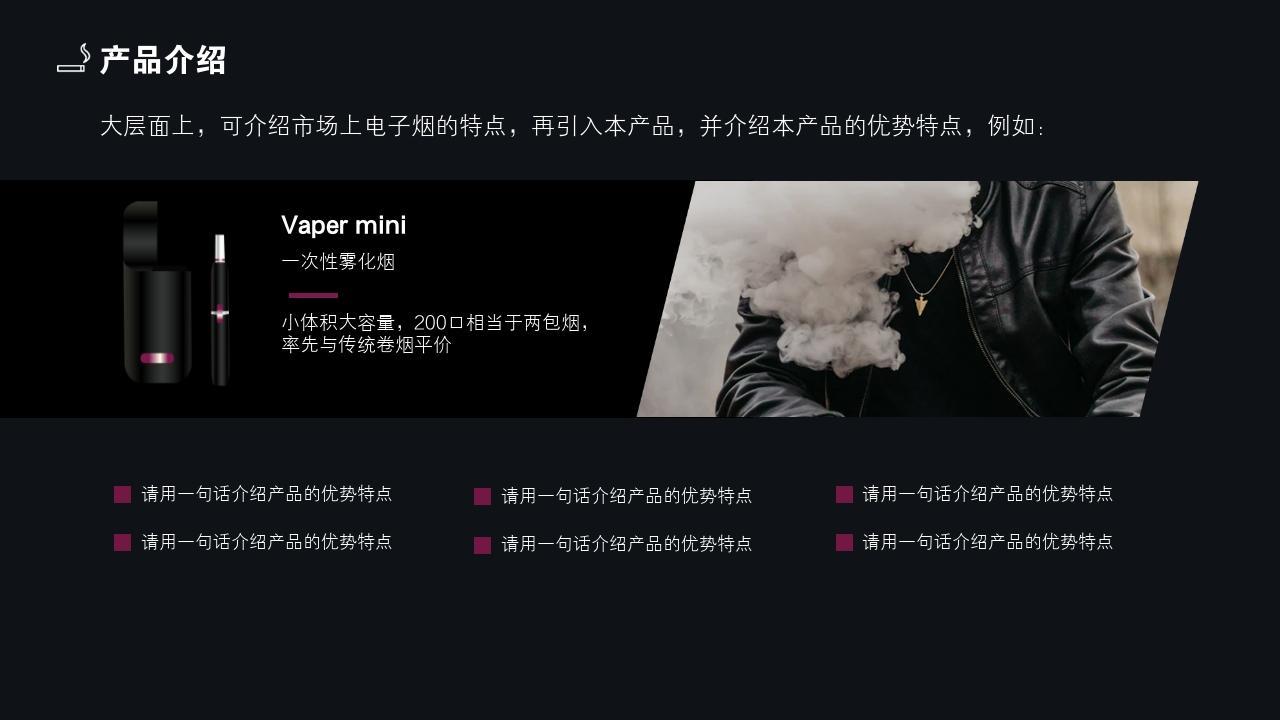 電子煙批發零售生活消費行業創業商業計劃書PPT模板-產品介紹