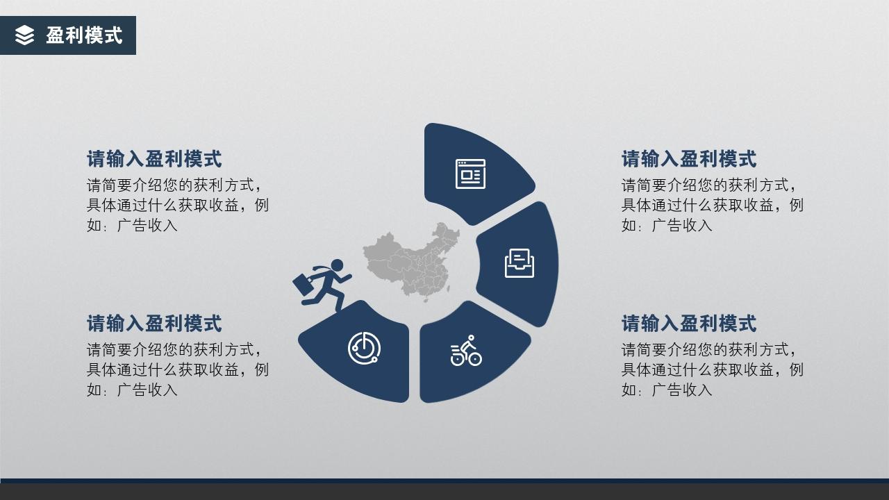 企業服務商家服務簡約通用完整商業計劃書PPT模版-盈利模式