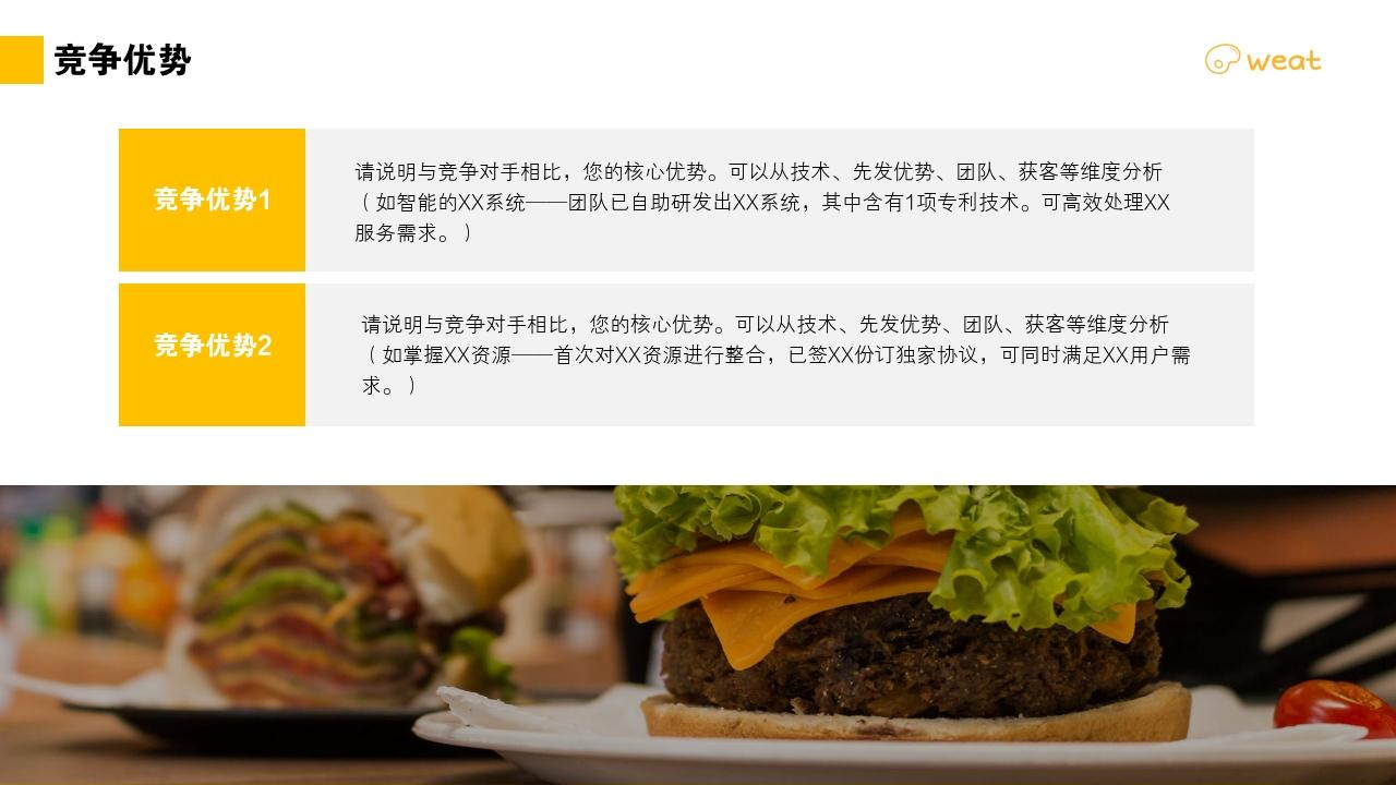 餐飲行業人造肉植物蛋白肉健康飲食健身餐創業商業計劃書PPT模板-競爭優勢