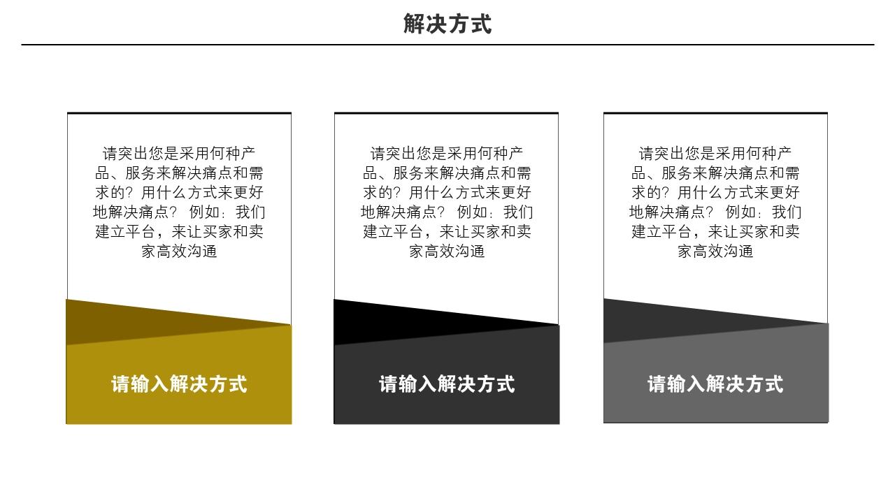 企業服務數據項目金融區塊鏈大氣完整商業計劃書PPT模版-解決方式